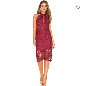 Bardot lace dress in burgundy